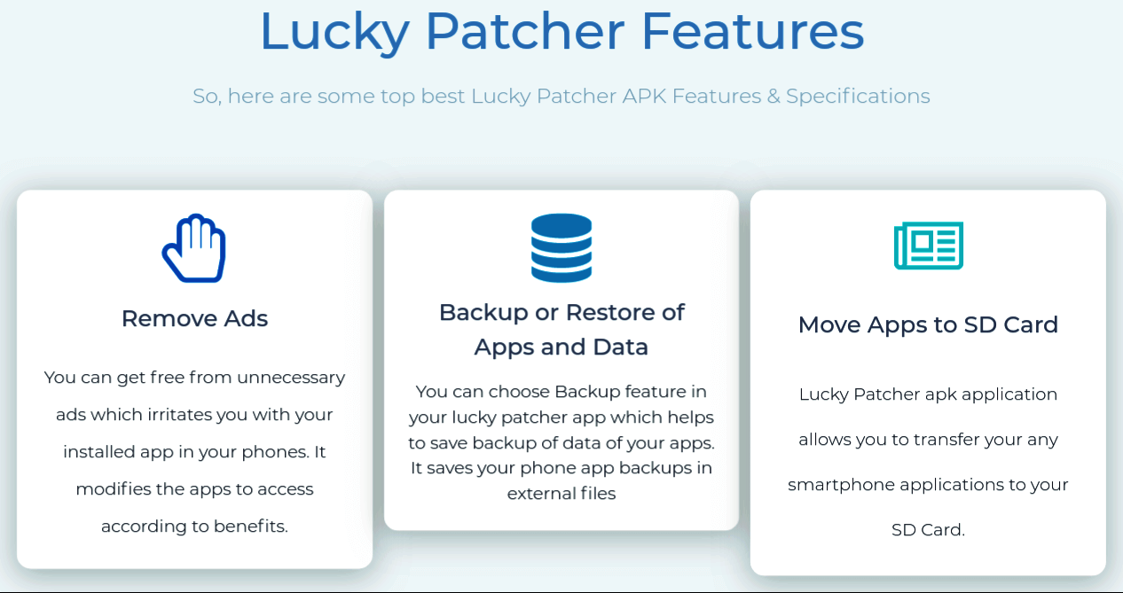 Features Of Lucky Patcher