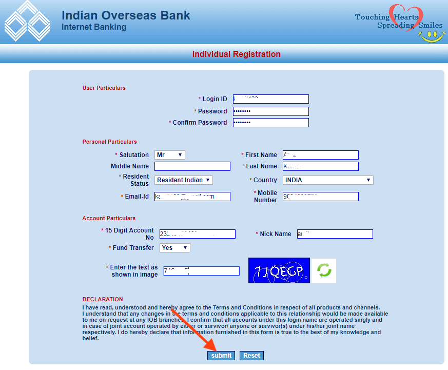 Apply for IOB Internet Banking Service