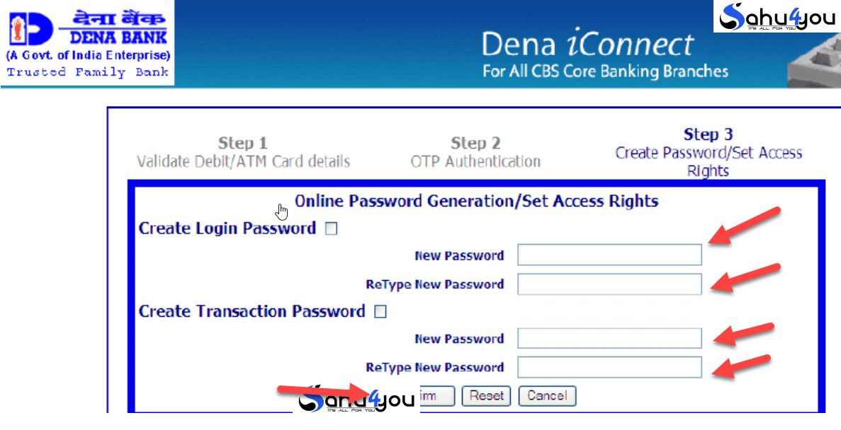 first time login dena bank net banking