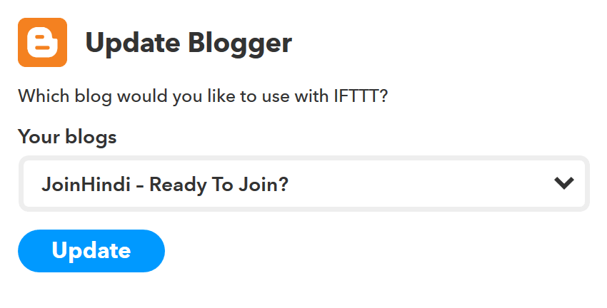 Update the Blogger channel - IFTTT