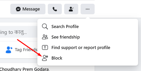 click here to block fb friend
