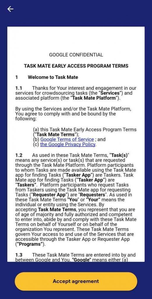 Task Mate Early Access Program Terms