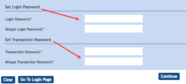 Change Internet Banking Password or Logins