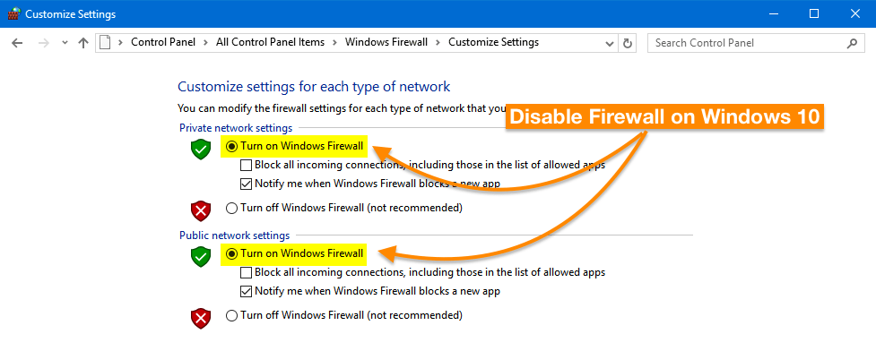 Disable Firewall Setting on Windows 10 PC