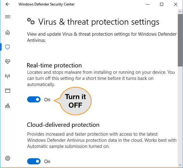 Disable Real Time Protection on Windows 10