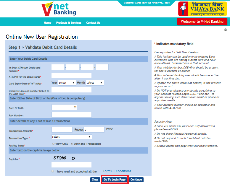 How to Register for Vijaya Bank Net Banking