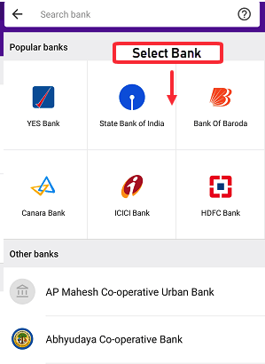Select your Bank Account in Phonepe