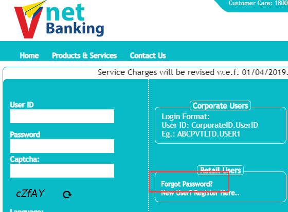 V Net Banking Forget Password