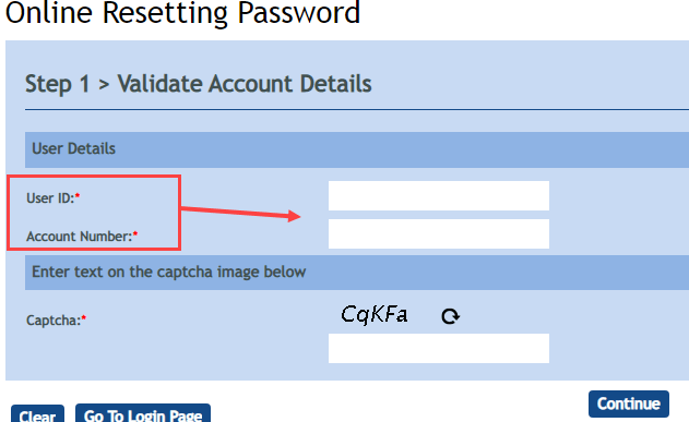 Vijaya Bank Reset Online Password