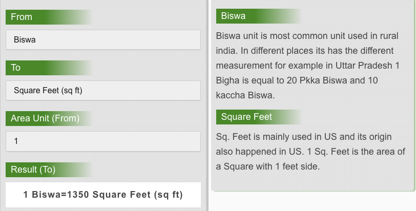 Biswa to Square Feet Conversion