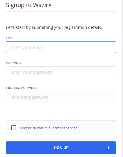Create WazirX Account